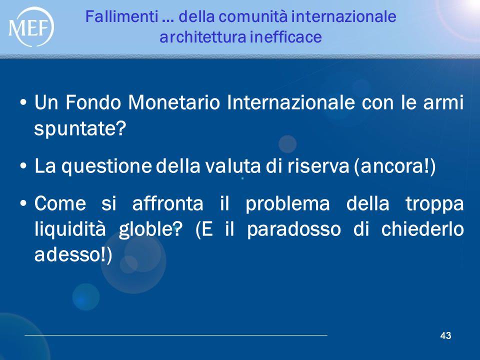 43 Fallimenti … della comunità internazionale architettura inefficace Un Fondo Monetario Internazionale con le armi spuntate? La questione della valut
