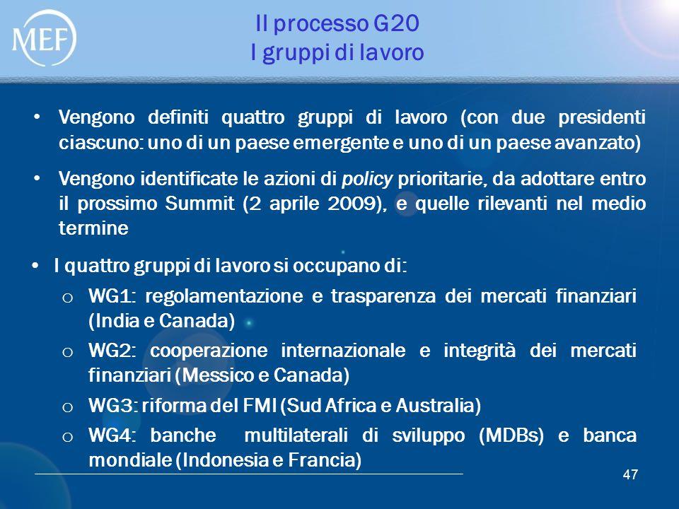 47 Il processo G20 I gruppi di lavoro I quattro gruppi di lavoro si occupano di: o WG1: regolamentazione e trasparenza dei mercati finanziari (India e