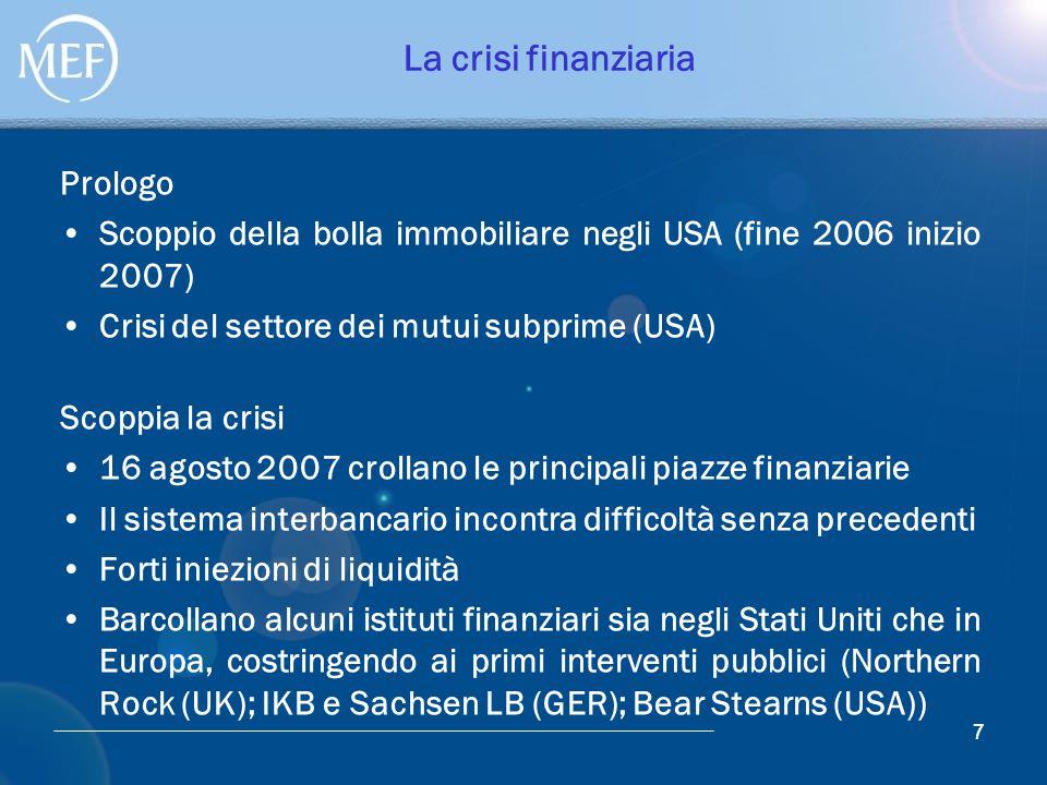 77 La crisi finanziaria Prologo Scoppio della bolla immobiliare negli USA (fine 2006 inizio 2007) Crisi del settore dei mutui subprime (USA) Scoppia l