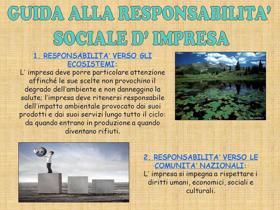 1. RESPONSABILITA' VERSO GLI ECOSISTEMI: L' impresa deve porre particolare attenzione affinché le sue scelte non provochino il degrado dell'ambiente e