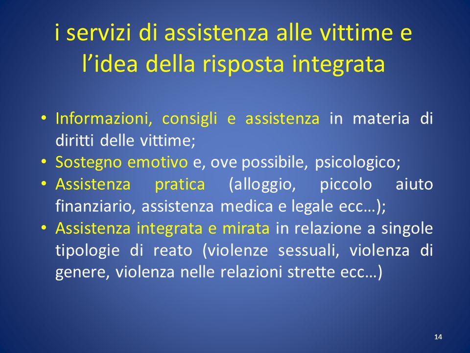14 i servizi di assistenza alle vittime e l'idea della risposta integrata Informazioni, consigli e assistenza in materia di diritti delle vittime; Sos