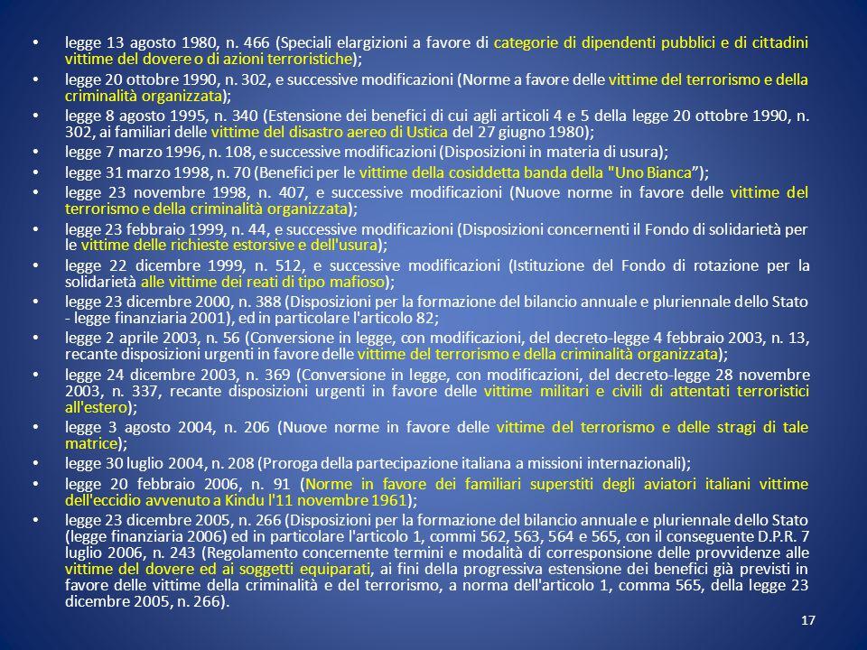 legge 13 agosto 1980, n. 466 (Speciali elargizioni a favore di categorie di dipendenti pubblici e di cittadini vittime del dovere o di azioni terroris