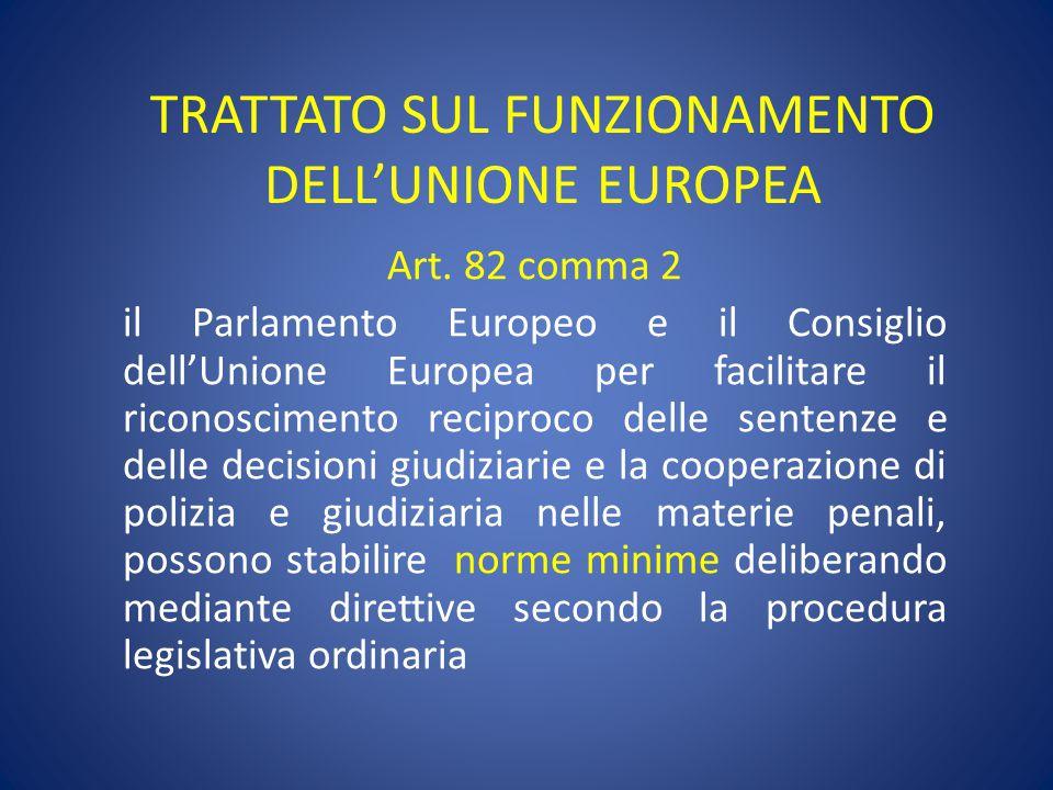 TRATTATO SUL FUNZIONAMENTO DELL'UNIONE EUROPEA Art. 82 comma 2 il Parlamento Europeo e il Consiglio dell'Unione Europea per facilitare il riconoscimen