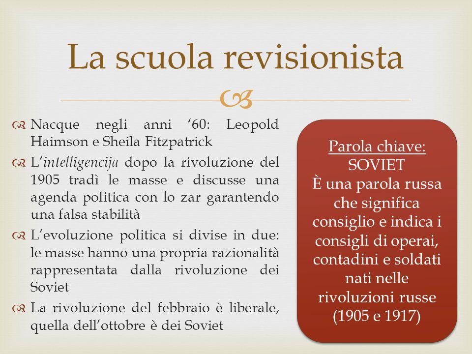  La scuola revisionista  Nacque negli anni '60: Leopold Haimson e Sheila Fitzpatrick  L' intelligencija dopo la rivoluzione del 1905 tradì le masse