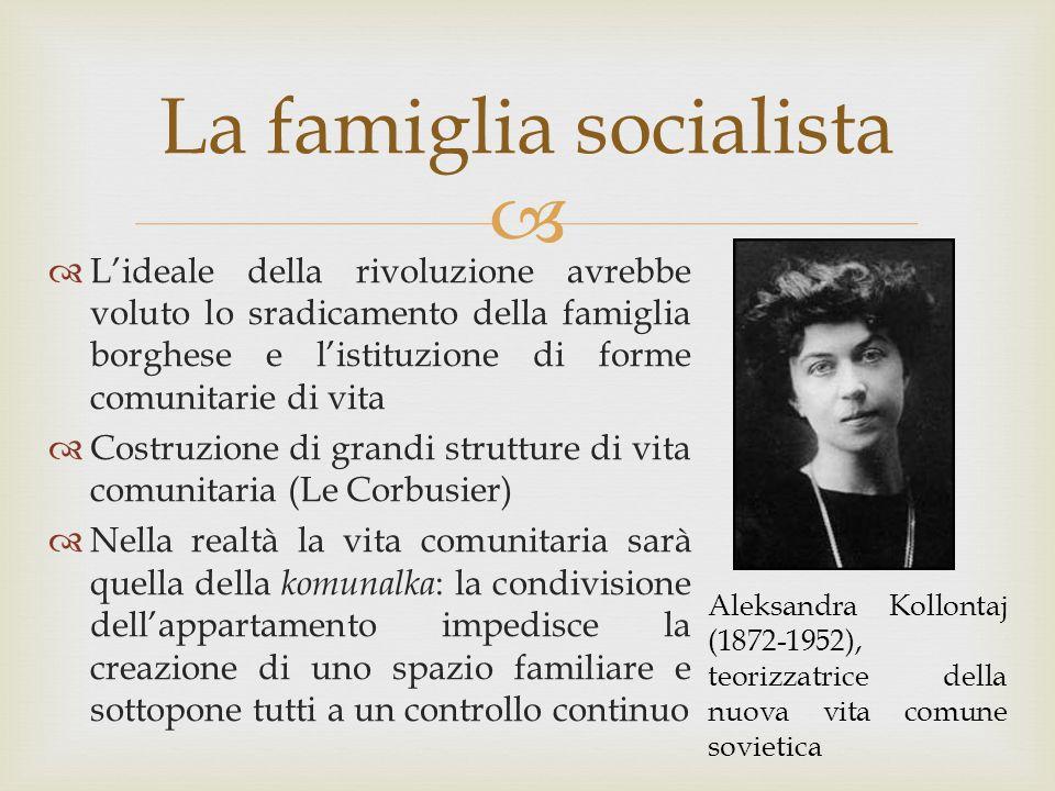  La famiglia socialista  L'ideale della rivoluzione avrebbe voluto lo sradicamento della famiglia borghese e l'istituzione di forme comunitarie di v