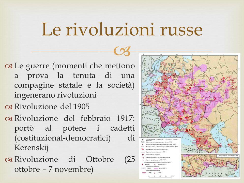  Le rivoluzioni russe  Le guerre (momenti che mettono a prova la tenuta di una compagine statale e la società) ingenerano rivoluzioni  Rivoluzione
