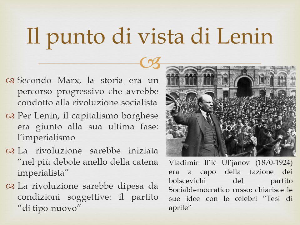  Il punto di vista di Lenin  Secondo Marx, la storia era un percorso progressivo che avrebbe condotto alla rivoluzione socialista  Per Lenin, il ca
