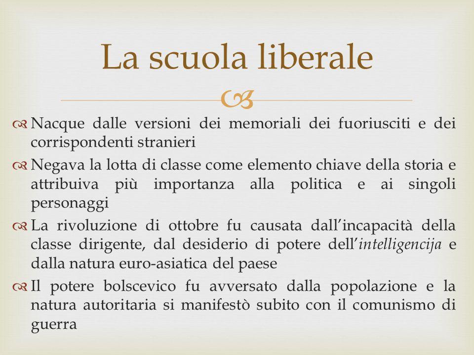  La scuola liberale  Nacque dalle versioni dei memoriali dei fuoriusciti e dei corrispondenti stranieri  Negava la lotta di classe come elemento ch