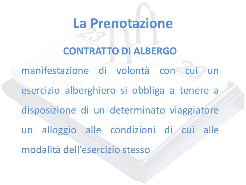 La Prenotazione CONTRATTO DI ALBERGO manifestazione di volontà con cui un esercizio alberghiero si obbliga a tenere a disposizione di un determinato v