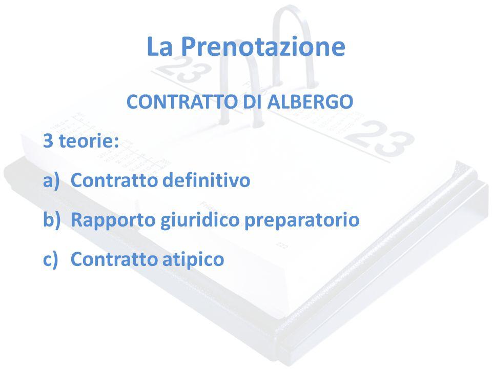 La Prenotazione CONTRATTO DI ALBERGO 3 teorie: a)Contratto definitivo b)Rapporto giuridico preparatorio c)Contratto atipico