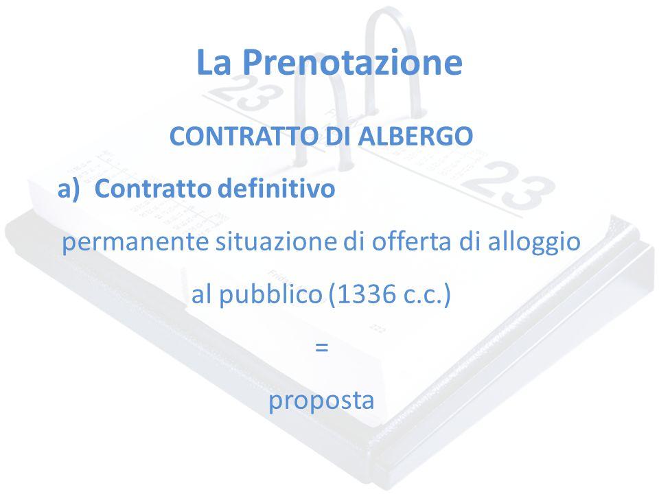 La Prenotazione CONTRATTO DI ALBERGO a)Contratto definitivo permanente situazione di offerta di alloggio al pubblico (1336 c.c.) = proposta
