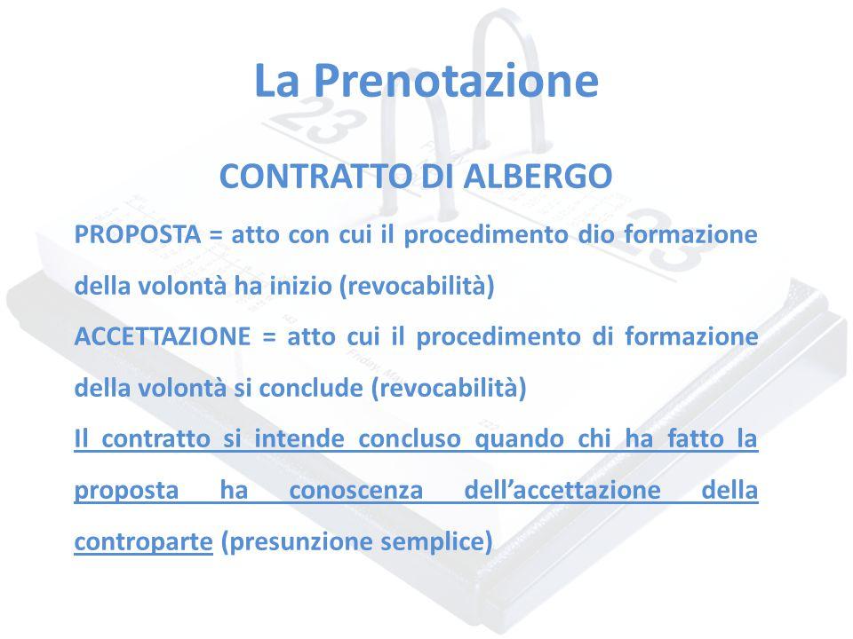 La Prenotazione CONTRATTO DI ALBERGO PROPOSTA = atto con cui il procedimento dio formazione della volontà ha inizio (revocabilità) ACCETTAZIONE = atto
