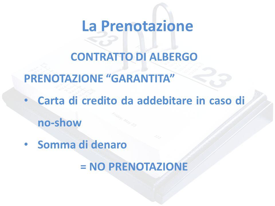 """La Prenotazione CONTRATTO DI ALBERGO PRENOTAZIONE """"GARANTITA"""" Carta di credito da addebitare in caso di no-show Somma di denaro = NO PRENOTAZIONE"""