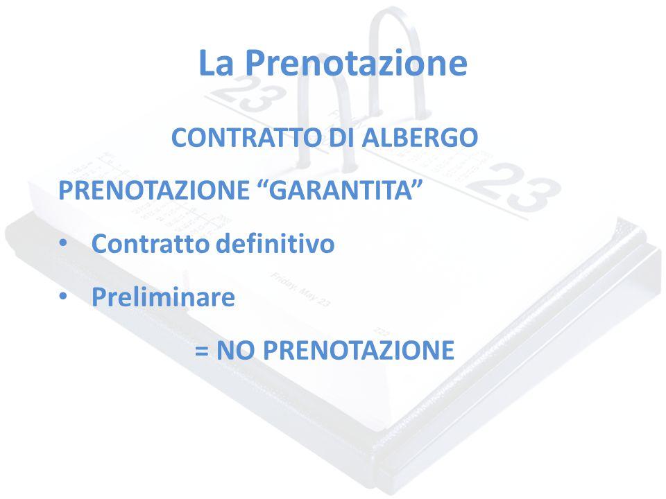 """La Prenotazione CONTRATTO DI ALBERGO PRENOTAZIONE """"GARANTITA"""" Contratto definitivo Preliminare = NO PRENOTAZIONE"""