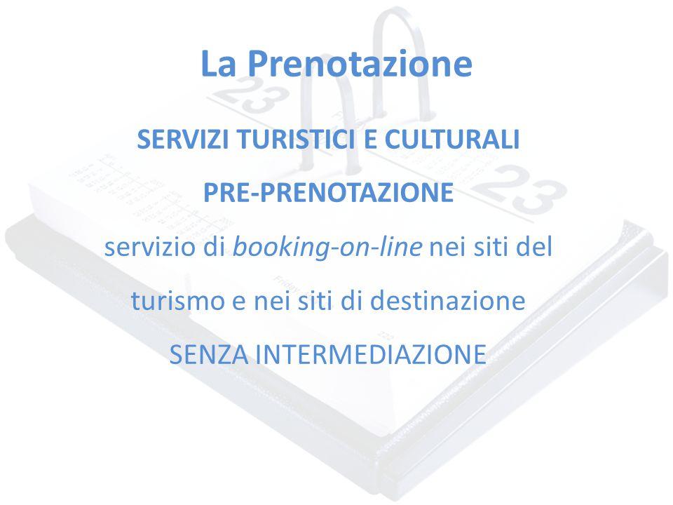 La Prenotazione SERVIZI TURISTICI E CULTURALI PRE-PRENOTAZIONE servizio di booking-on-line nei siti del turismo e nei siti di destinazione SENZA INTER