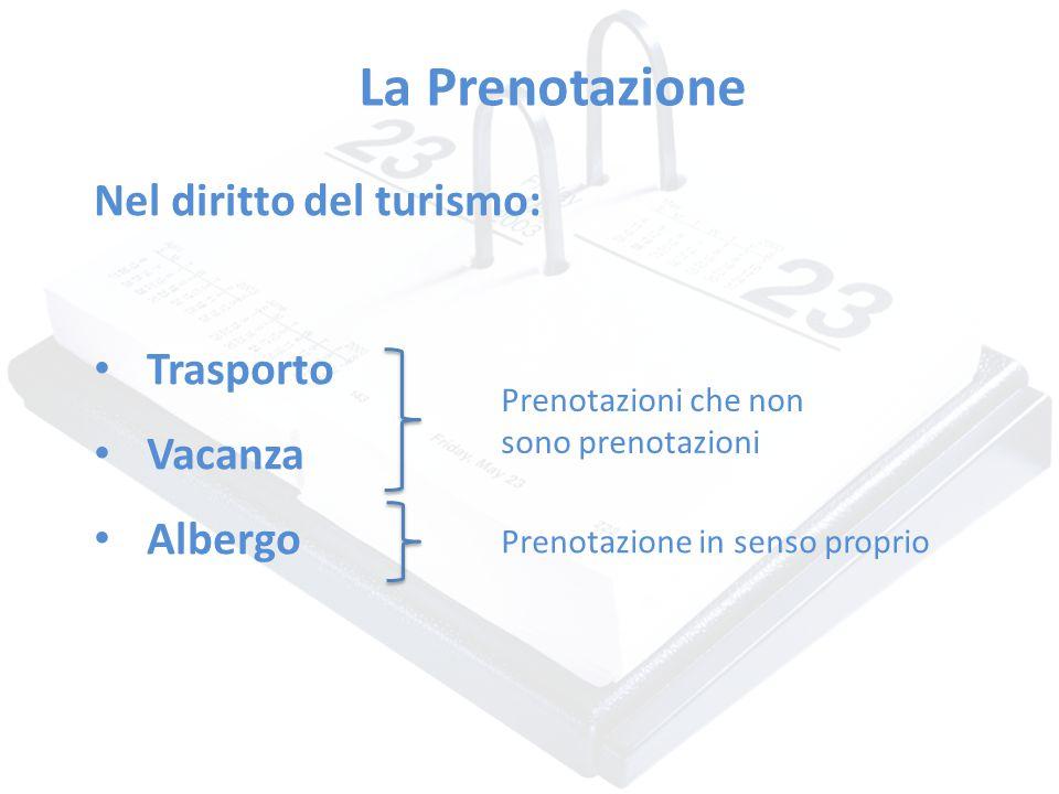 La Prenotazione Nel diritto del turismo: Trasporto Vacanza Albergo Prenotazioni che non sono prenotazioni Prenotazione in senso proprio