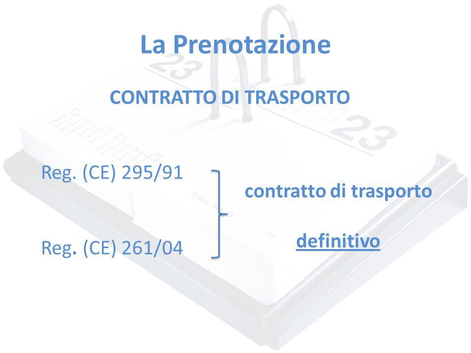 La Prenotazione CONTRATTO DI TRASPORTO Reg. (CE) 295/91 Reg. (CE) 261/04 contratto di trasporto definitivo