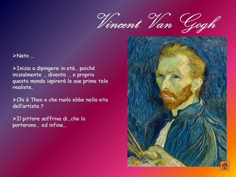 Vincent Van Gogh  Nato …  Inizia a dipingere in età… poiché inizialmente … diventa … e proprio questo mondo ispirerà le sue prime tele realiste.