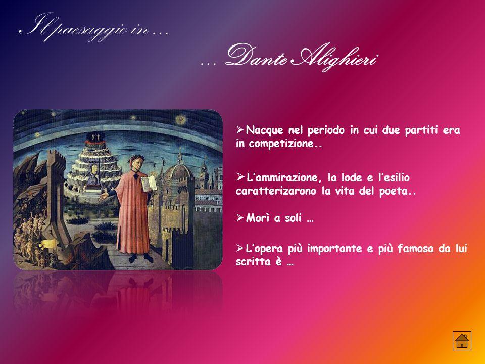 Il paesaggio in … …Dante Alighieri  Nacque nel periodo in cui due partiti era in competizione..