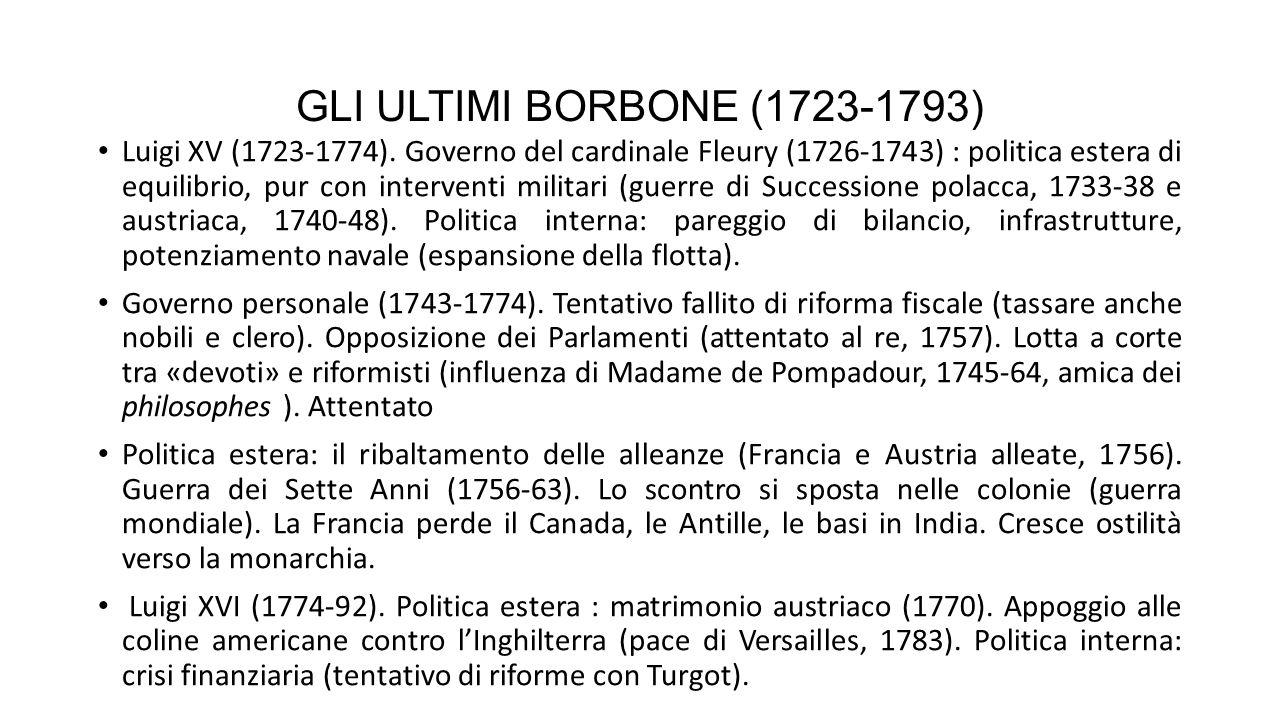 GLI ULTIMI BORBONE (1723-1793) Luigi XV (1723-1774).