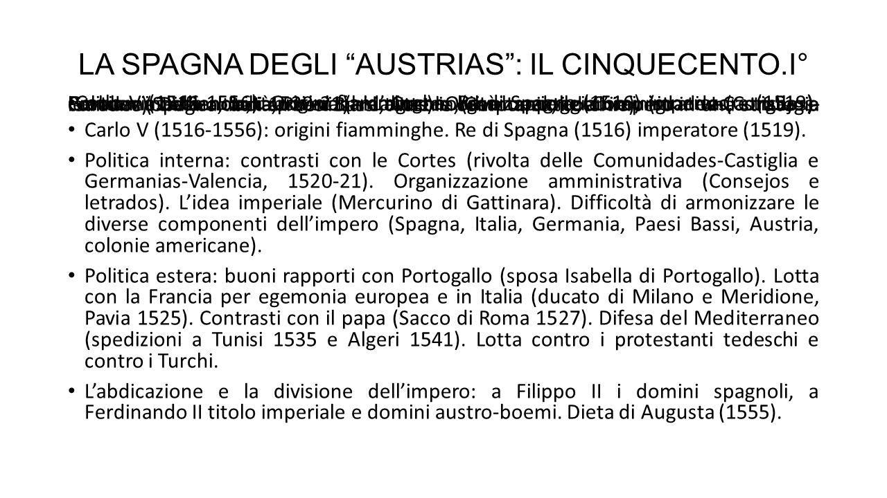 LA SPAGNA DEGLI AUSTRIAS : IL CINQUECENTO.I° Carlo V (1516-1556).