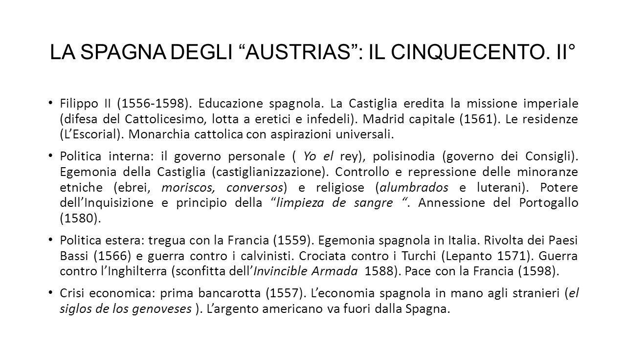 LA SPAGNA DEGLI AUSTRIAS.IL SEICENTO Filippo III (1598-1621).