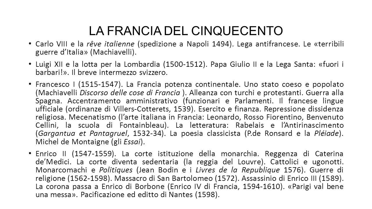 LA FRANCIA DEL CINQUECENTO Carlo VIII e la rêve italienne (spedizione a Napoli 1494).
