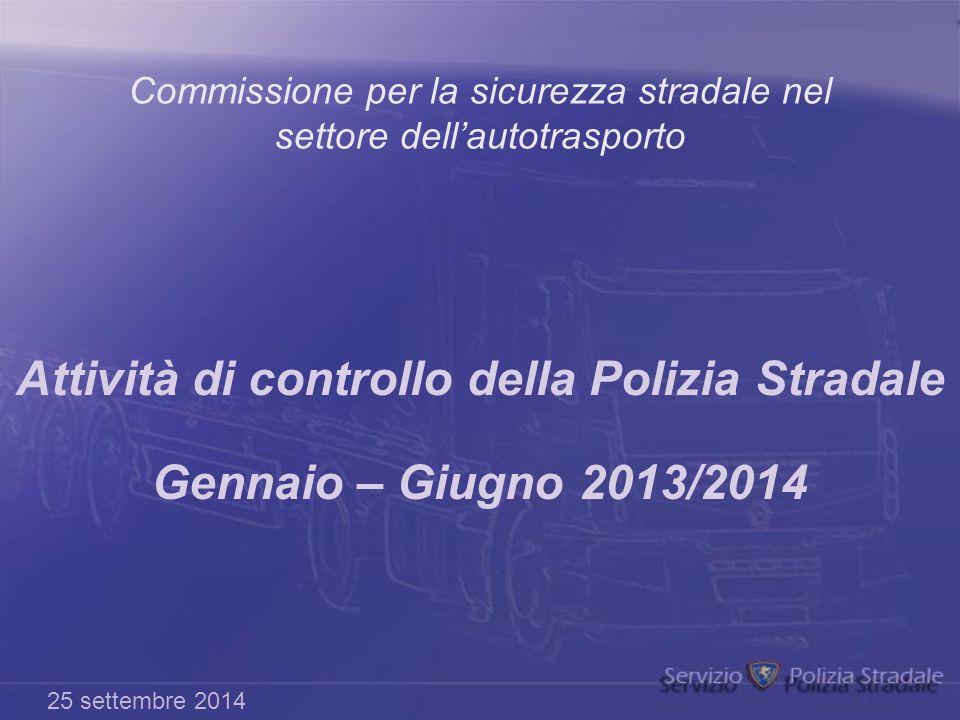Commissione per la sicurezza stradale nel settore dell'autotrasporto Attività di controllo della Polizia Stradale Gennaio – Giugno 2013/2014 25 settem