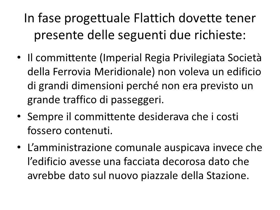 In fase progettuale Flattich dovette tener presente delle seguenti due richieste: Il committente (Imperial Regia Privilegiata Società della Ferrovia M