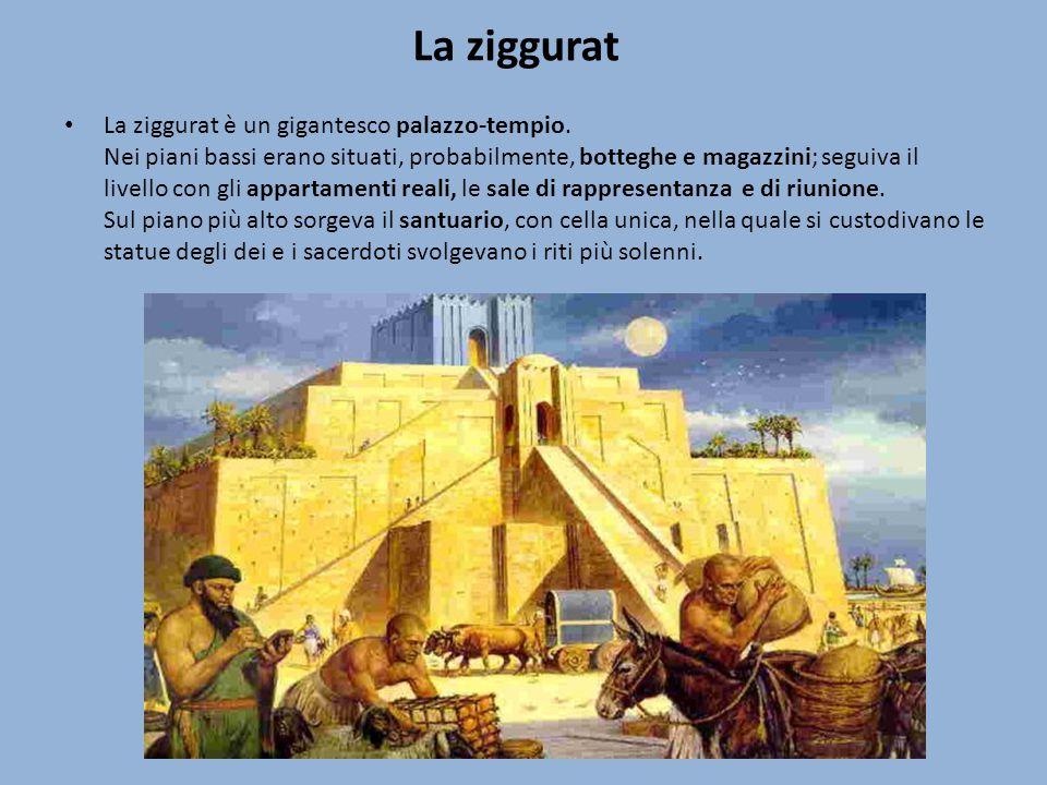 La ziggurat La ziggurat è un gigantesco palazzo-tempio. Nei piani bassi erano situati, probabilmente, botteghe e magazzini; seguiva il livello con gli
