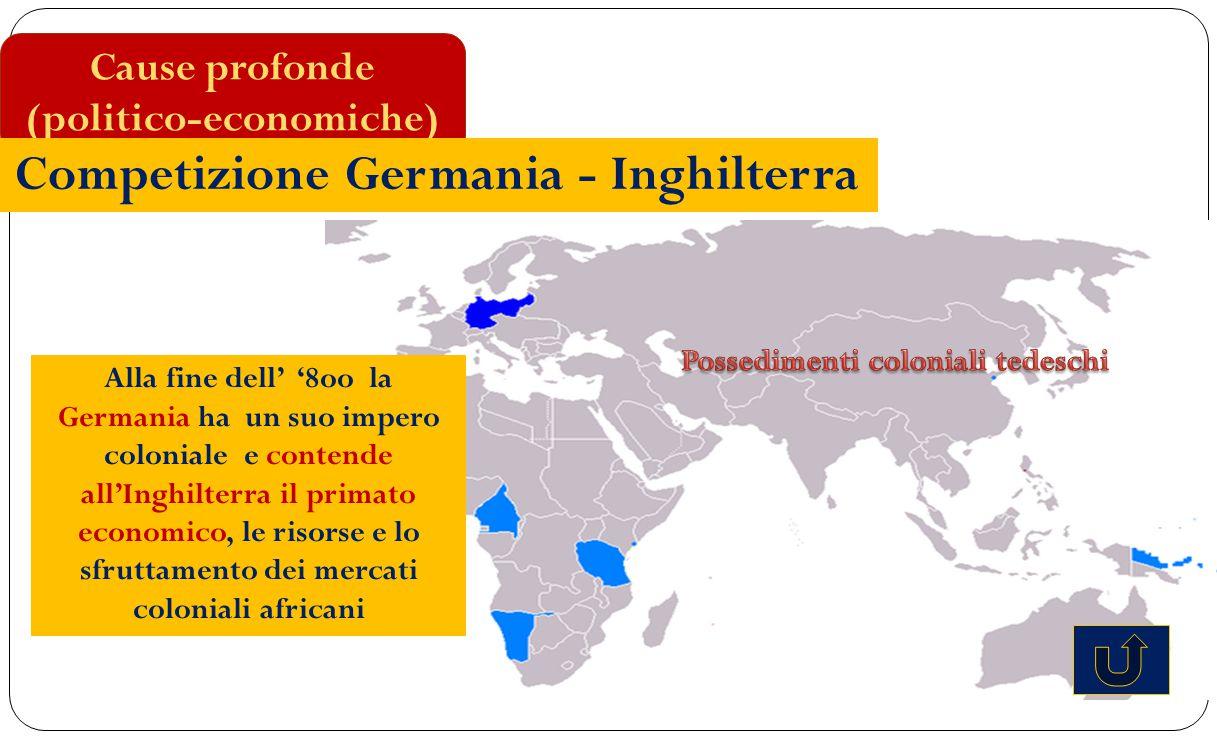 Alla fine dell' '8oo la Germania ha un suo impero coloniale e contende all'Inghilterra il primato economico, le risorse e lo sfruttamento dei mercati