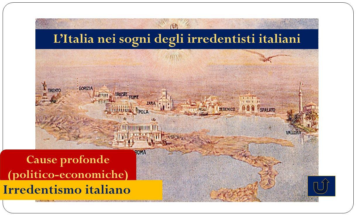 Cause profonde (politico-economiche) Irredentismo italiano L'Italia nei sogni degli irredentisti italiani