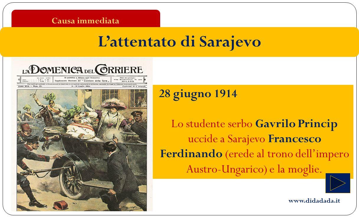 28 giugno 1914 Lo studente serbo Gavrilo Princip uccide a Sarajevo Francesco Ferdinando (erede al trono dell'impero Austro-Ungarico) e la moglie. Caus