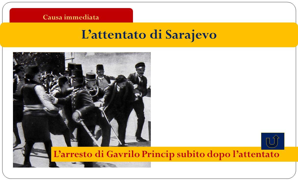 Causa immediata L'attentato di Sarajevo L'arresto di Gavrilo Princip subito dopo l'attentato