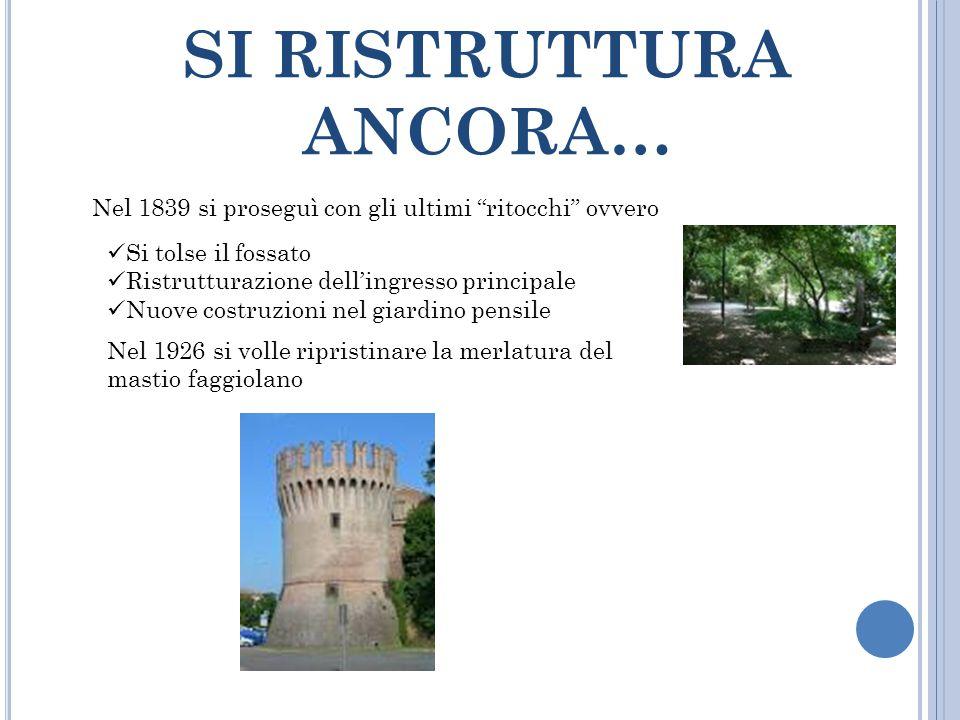 """SI RISTRUTTURA ANCORA… Nel 1839 si proseguì con gli ultimi """"ritocchi"""" ovvero Si tolse il fossato Ristrutturazione dell'ingresso principale Nuove costr"""