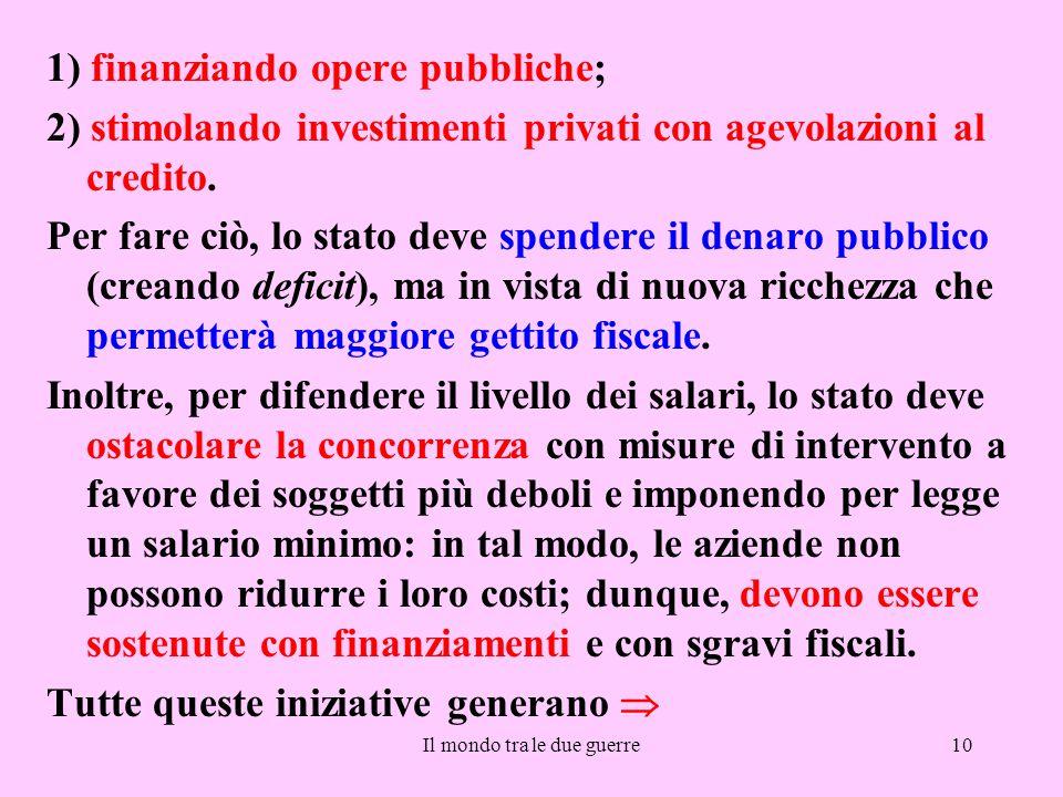 Il mondo tra le due guerre10 1) finanziando opere pubbliche; 2) stimolando investimenti privati con agevolazioni al credito. Per fare ciò, lo stato de