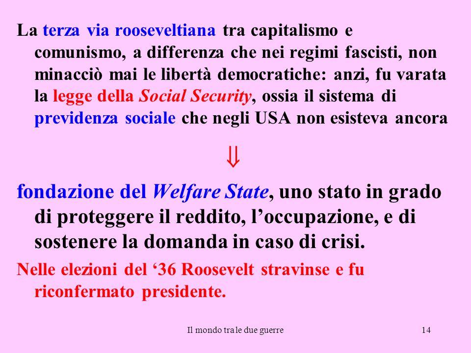 Il mondo tra le due guerre14 La terza via rooseveltiana tra capitalismo e comunismo, a differenza che nei regimi fascisti, non minacciò mai le libertà
