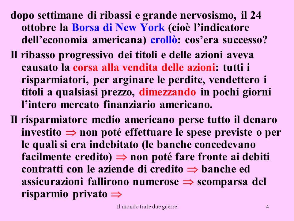 Il mondo tra le due guerre4 dopo settimane di ribassi e grande nervosismo, il 24 ottobre la Borsa di New York (cioè l'indicatore dell'economia america
