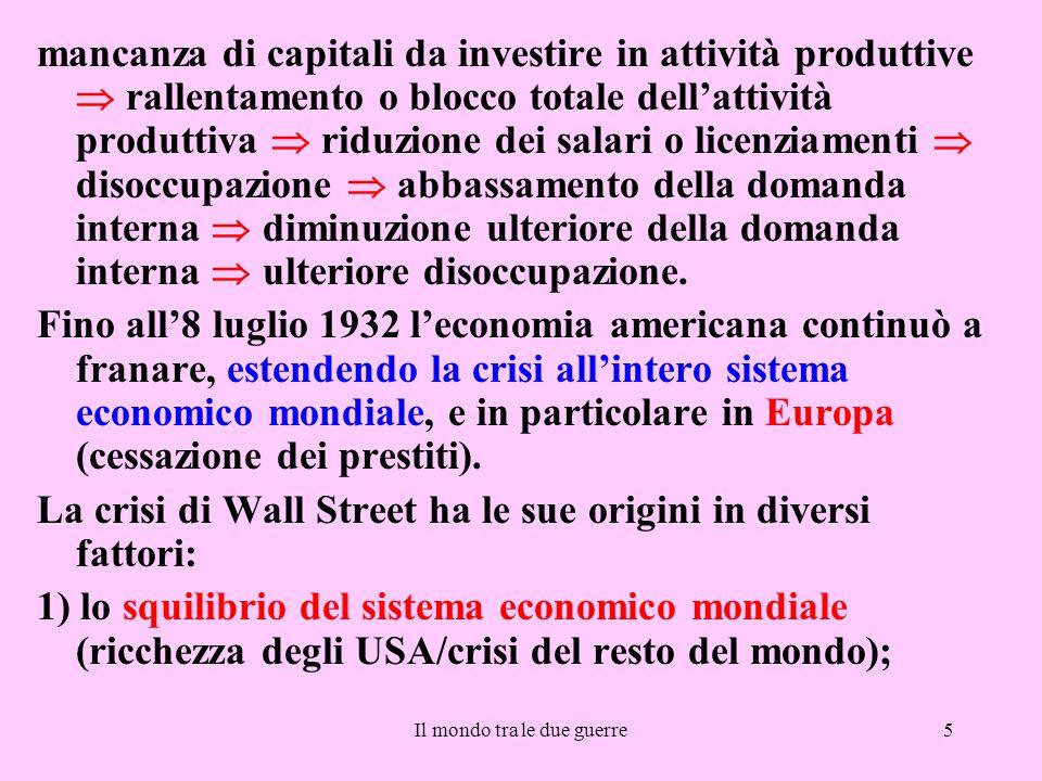 Il mondo tra le due guerre5 mancanza di capitali da investire in attività produttive  rallentamento o blocco totale dell'attività produttiva  riduzi