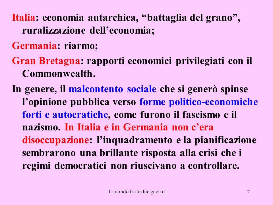 """Il mondo tra le due guerre7 Italia: economia autarchica, """"battaglia del grano"""", ruralizzazione dell'economia; Germania: riarmo; Gran Bretagna: rapport"""