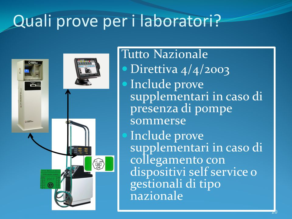 Quali prove per i laboratori? 20 Tutto Nazionale Direttiva 4/4/2003 Include prove supplementari in caso di presenza di pompe sommerse Include prove su