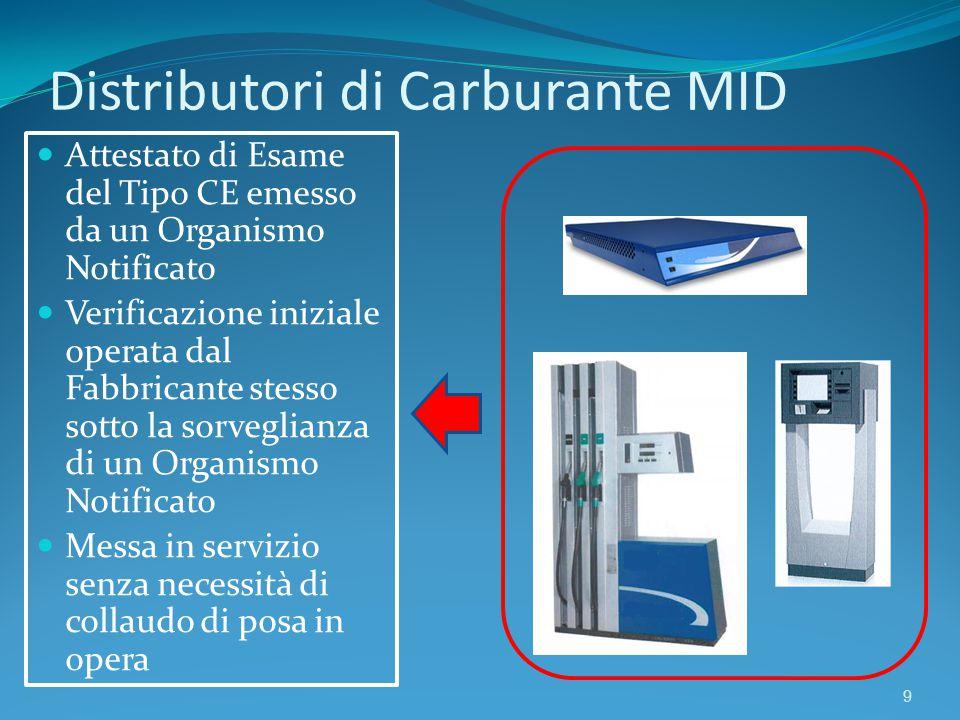 Distributori di Carburante MID 9 Attestato di Esame del Tipo CE emesso da un Organismo Notificato Verificazione iniziale operata dal Fabbricante stess