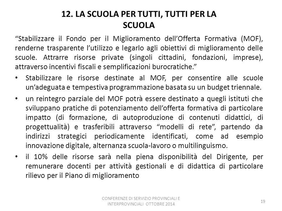 """12. LA SCUOLA PER TUTTI, TUTTI PER LA SCUOLA """"Stabilizzare il Fondo per il Miglioramento dell'Offerta Formativa (MOF), renderne trasparente l'utilizzo"""