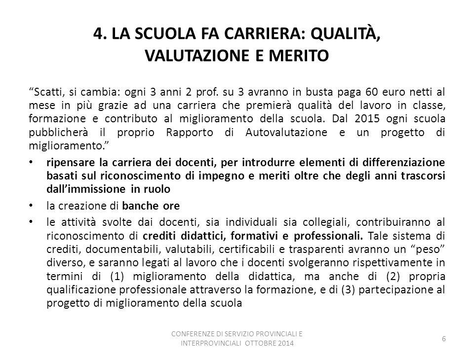 4. LA SCUOLA FA CARRIERA: QUALITÀ, VALUTAZIONE E MERITO Scatti, si cambia: ogni 3 anni 2 prof.