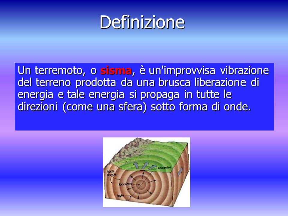 Definizione Un terremoto, o sisma, è un improvvisa vibrazione del terreno prodotta da una brusca liberazione di energia e tale energia si propaga in tutte le direzioni (come una sfera) sotto forma di onde.
