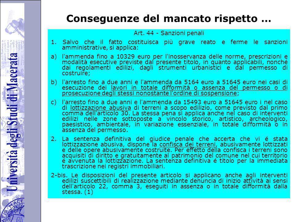 Università degli Studi di Perugia Conseguenze del mancato rispetto … Art.