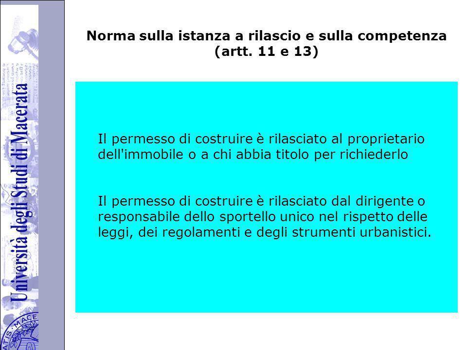 Università degli Studi di Perugia Norma sulla istanza a rilascio e sulla competenza (artt.