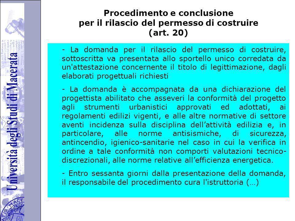 Università degli Studi di Perugia Procedimento e conclusione per il rilascio del permesso di costruire (art.