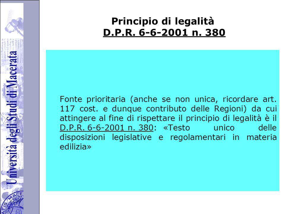 Università degli Studi di Perugia Principio di legalità D.P.R.