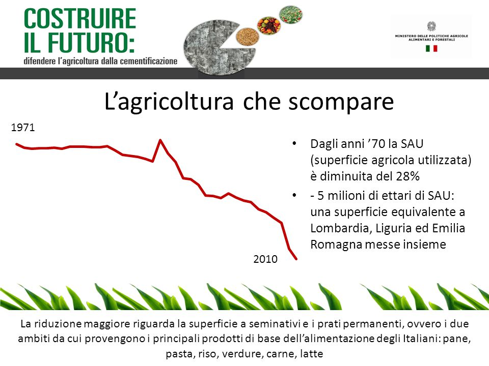 - SAU + dipendenza alimentare La continua perdita di terreno agricolo porta l'Italia a dipendere sempre più dall'estero per l'approvvigionamento di risorse alimentari Stima dell'andamento del grado di autosufficienza alimentare in Italia 1991 2011 Grado di autosufficienza di alcuni prodotti fondamentali Cereali 73% Latte 64% Zucchero 34% Carne 72% Ortaggi 103% Leguminose 33% Olio d'oliva 73%